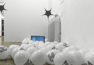 installation view, Unfold the Banners and release the balloons, State of Concept Athens (in cooperation with Leon Kahane), photo: Andreas Maroulis